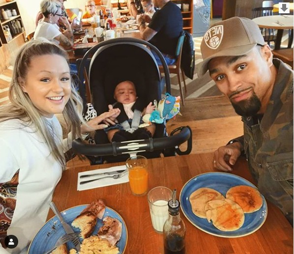 Ashley Banjo with wife and baby